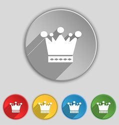 Crown icon sign Symbol on five flat buttons vector image