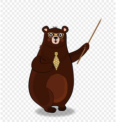 Cute cartoon bear teacher in glasses holding vector