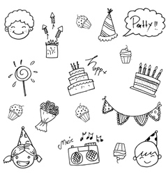 Cute doodle birthday for kids vector