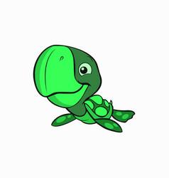 Cute little turtle animal vector