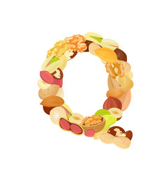 Delicious letter made from different nuts q vector