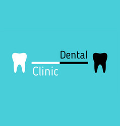 dental clinic logo white and black teeth on blue vector image