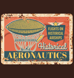 dirigible rusty metal plate historical airships vector image