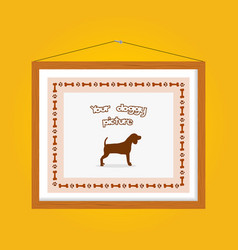 dog picture frame vector image