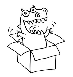 dragon sitting in box vector image