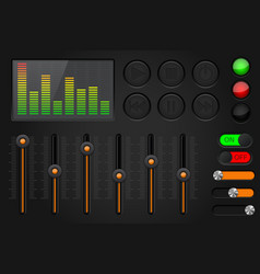 Equalizer media buttons set black and orange vector