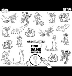 find two same halloween characters game coloring vector image