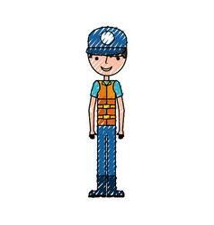 fisherman with hat avatar character vector image
