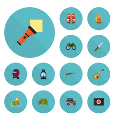 Flat icons music fist aid barbecue and other vector