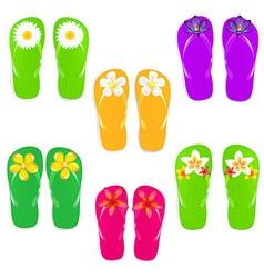 Flip Flops With Color Flowers vector