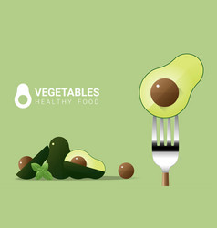 fresh avocado on fork with pile of avocados vector image