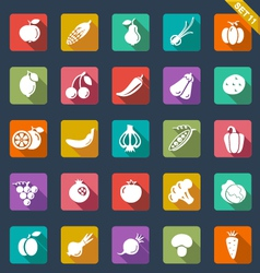 Fruit and vegetables icons - flat design vector