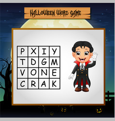 Game halloween find the word of vampire vector
