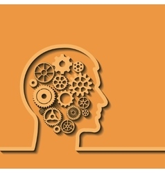 Gears in human head Thinking process vector