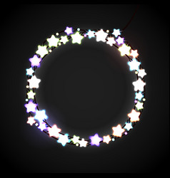 Glowing lamp lights wreath for xmas holiday vector