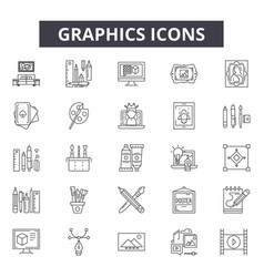 graphics line icons for web and mobile design vector image