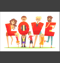 group of smiling people holding the word love vector image