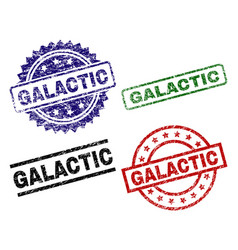 Grunge textured galactic seal stamps vector