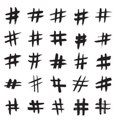Hand painted hashtag signs number sign hash vector
