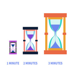 hourglass for different times modern flat style vector image