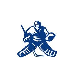 Ice Hockey Goalie Retro vector image
