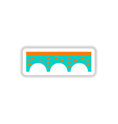 In paper sticker style stone vector