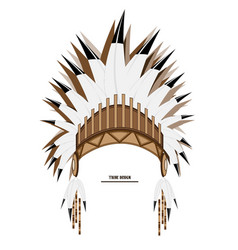 Indian tribal feather hat art object vector