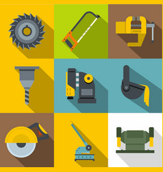 industry equipment icons set flat style vector image