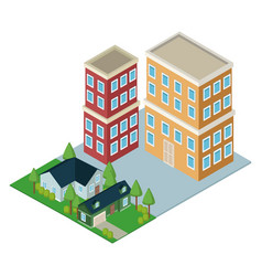 isometric residences buildings vector image