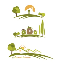 Landscape with houses and trees vector
