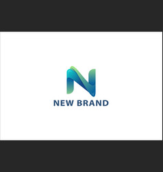 Letter n blue colour 3d technological logo vector