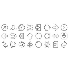 Linear arrow icons download synchronize vector