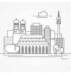 linear munich germany flat one line style trendy vector image