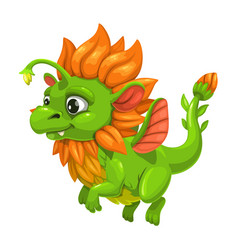 Little cute green dragon fantasy animal funny vector