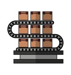 Logistic line machine icon vector