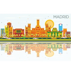 Madrid skyline with color buildings vector