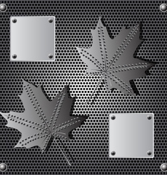 Metal shield maple leaf background with rivets vector