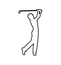 Monochrome contour of male golf player vector