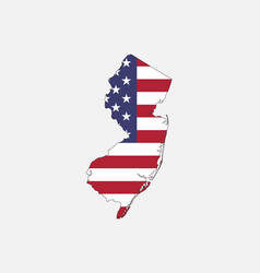 new jersey map on american flag vector image