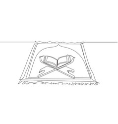 One continuous line drawing sajadah carpet vector