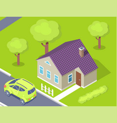 parked auto house and green yard exterior vector image
