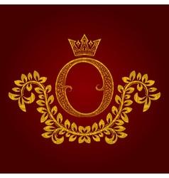 Patterned golden letter O monogram in vintage vector image