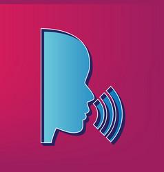 People speaking or singing sign blue 3d vector