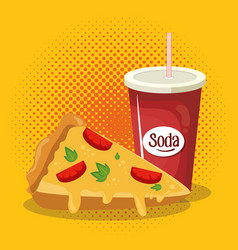 pizza and soda fast food vector image