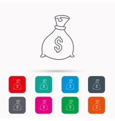 Sack with dollars icon Money bag sign vector image