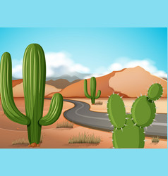 scene with empty road in the desert ground vector image