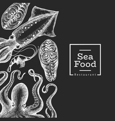 seafood design template hand drawn seafood on vector image