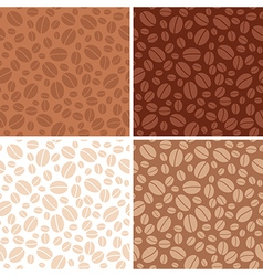 set - coffee beans brown seamless patterns vector image