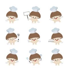 Set cute mushroom chef cartoon characters vector
