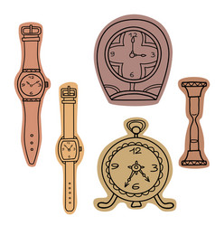 set of doodle hand drawn watches vector image